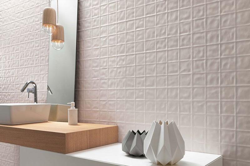 Decorative 3D tile Lumina grid creating statement bathroom splashback