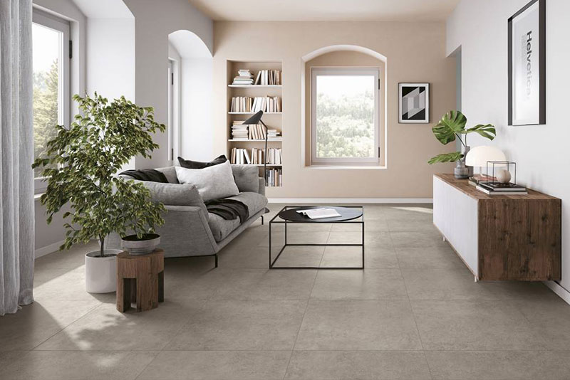 Realm Grey stone look tile for living room flooring