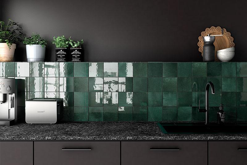 Kitchen splashback Artisan-moss-green square wall tile