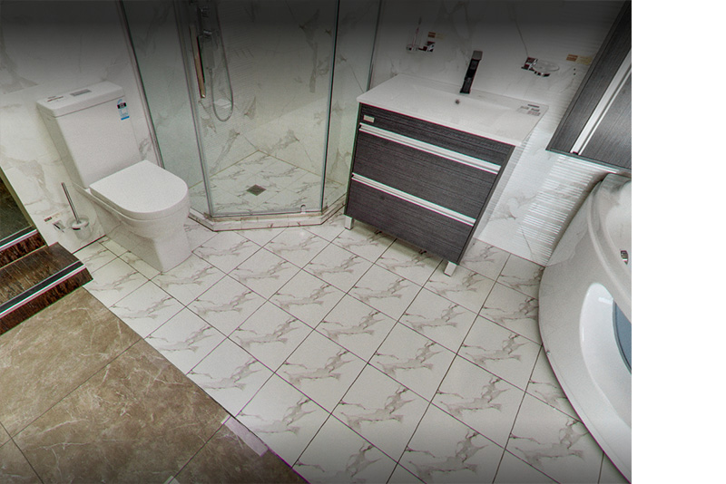 marble look tile laid with 1 face