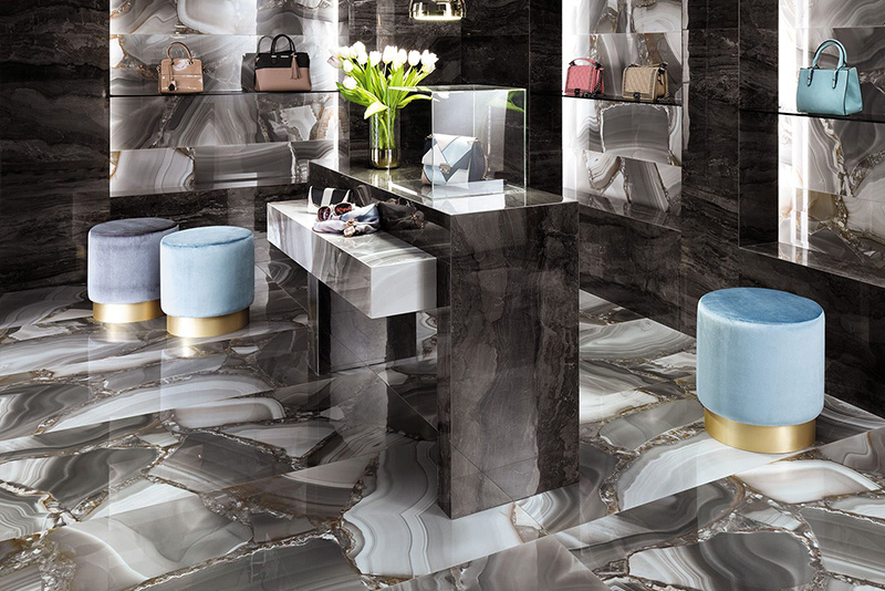 Marvel experience, marble look decorative floor and wall tile