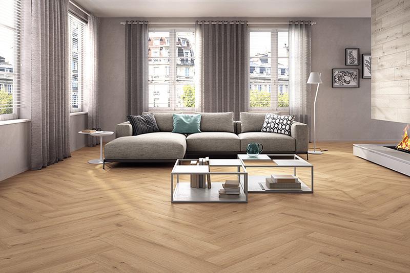 Living room flooring, timber look tile Breath natural