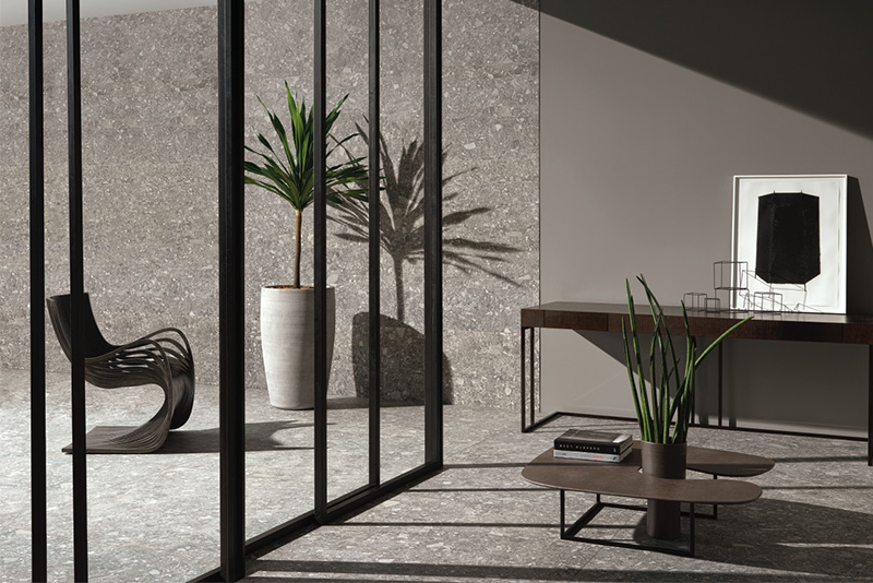 Stone look tile Lombarda Grigio for indoor and outdoor use